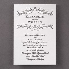 Letterpress Swirls - Invitation Want a letterpress look that's romantic, too? Choose this wedding invitation with a swirl design and your choice of color for style. Letterpress Wedding Invitations, Letterpress Printing, Invites, Swirl Design, Home Wedding, Unique Weddings, Swirls, Perfect Wedding, Wedding Favors