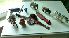 Vintage Toy Lot Celluloid Plastic Animals Leather Pouch Sheath with Dagger