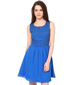 The Vanca Blue Embroidered  Dress
