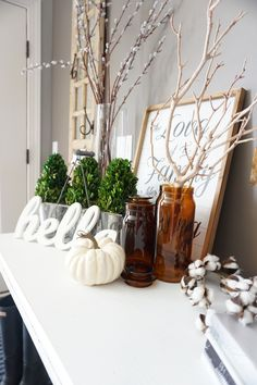 Simple fall entry decor ideas to transition your home! With our growing family, we have less time so we make the transition to fall decor super easy! Farmhouse Light Fixtures, Farmhouse Lighting, Family Room Decorating, Decorating Your Home, Decorating Ideas, Cheap Home Decor, Diy Home Decor, Clear Glass Vases, Diy Décoration