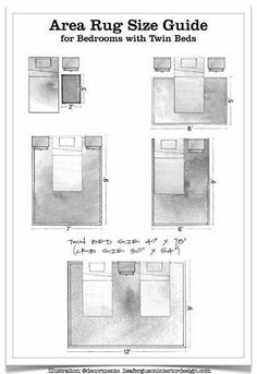 Area rug size guide: twin beds - 50 Amazingly Clever Cheat Sheets To Simplify Home Decorating Projects Home Design, Interior Design Tips, Home Interior, Design Ideas, Scandinavian Interior, Area Rug Sizes, Area Rugs, Decorating Tips, Interior Decorating