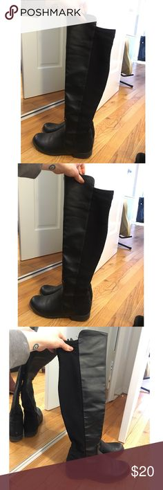 Black Over The Knee Boots TRENDY&comfy! Black over the knee boots with some wear Shoes Over the Knee Boots