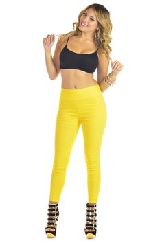 High Waisted Yellow Leggings | Sexyback Boutique