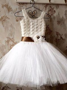 White flower girl tutu dress girls tutu dress crochet tutu por Qt2t
