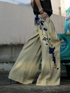 OTHER CONCEPT Floral-embroidered Linen Wide Leg Pants