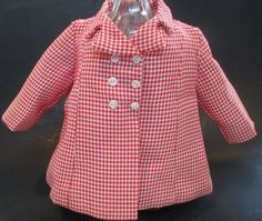 """Vintage 1950s Terri Lee Doll Clothes Coat Jacket 16"""" Red White Checked EUC! #TerriLee #ClothingAccessories"""