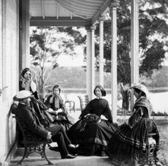 On the verandah of Drummoyne House, Drummoyne, Sydney. Photo taken mid Sadly, House demolished v Australian People, Australian Houses, Old Photos, Vintage Photos, Five Dock, The Rocks Sydney, Modern Pictures, John Smith, Historical Pictures