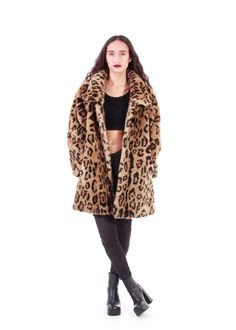 90s Leopard Faux Fur Coat BEAUTIFUL Union Made by KatrajinaCo
