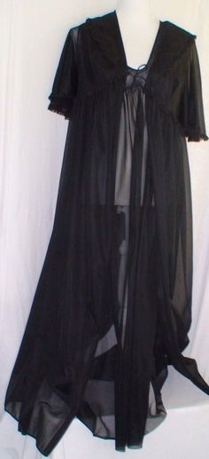 Elegant Sexy Sheer 2PC Black Long Robe & Nightgown Set Women's Size M #Unbranded #RobeGownSets