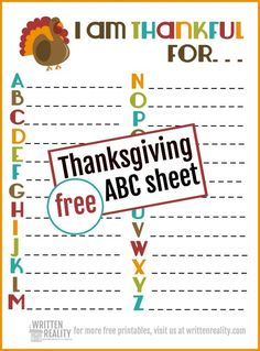 Great idea for Thanksgiving dinner conversation. Kids Thanksgiving sheet thankful ABCs Free Thanksgiving ABC sheet