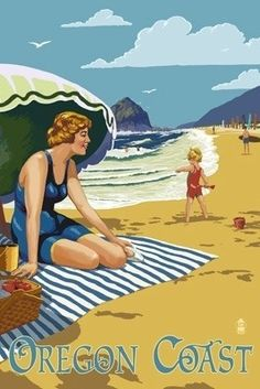 Oregon Coast Beach Scene - Lantern Press Poster