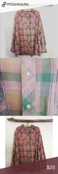 Hand Dyed Vintage Big Flannel Shirt I hand dyed this years ago but I seriously have way too many Flannel shirts. It's a men's 4XLT. But it's so comfy and warm to snuggle in. Pearl snaps. It's vintage so it has a worn in look. Would fit 3X-4x with room. Vintage Tops Button Down Shirts