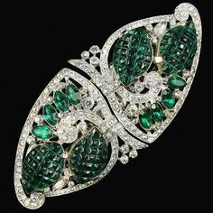 Cartier Platinum, Diamond & Emerald Brooch, 1936