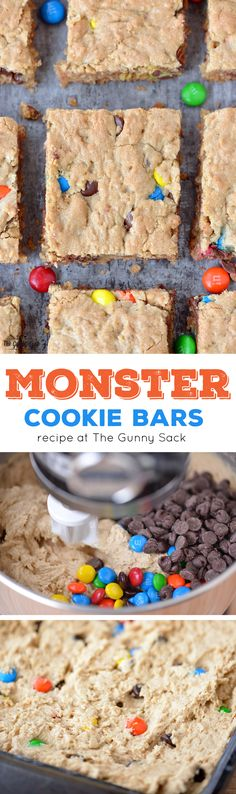 Monster Cookie Bars are so much easier to make than cookies! This ...