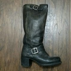 Frye Boots Size 6.5 Color:Distressed black Frye Boots Size 6.5 Color:Distressed black. Only worn a few times as they were a little big on me. Boots do have light scuffs & markings which only add to the boots' distressed look. Feel free to ask any questions! Frye Shoes Winter & Rain Boots