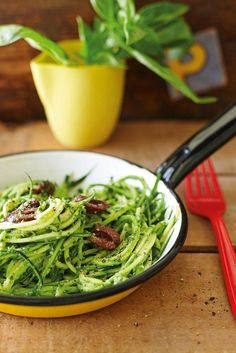 Courgette Noodles with Basil & Parsley Pesto https://www.the-pool.com/food-home/recipes/2015/28/courgette-noodles-with-basil-and-parsley-pesto