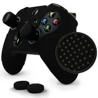 ParticleGrip STUDDED Skin Set for Xbox One by Foamy Lizard ®  PATENT PENDING Silicone Skin Cover Antislip Studs PLUS a matching set of 4 AceShot Analog Thumb Grips BLACK   In the heat of battle there's no time to lose, and especially no time to lose your grip on your controller. The Foamy Lizard® Read  more http://themarketplacespot.com/video-game-consoles-accessories/particlegrip-studded-skin-set-for-xbox-one-by-foamy-lizard-cyber-monday-sale-patent-pending-silicone-skin-c
