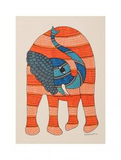 Buy Multi Color Elephant Gondh Painting By Rajendra Shyam x Paper… Worli Painting, Watercolor Paintings Abstract, Fabric Painting, Madhubani Art, Madhubani Painting, Kunst Der Aborigines, Sleeping Drawing, Elephant Art, Elephant Drawings