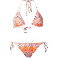 Missoni Zigzag Pattern Triangle Bikini (1.135 BRL) ❤ liked on Polyvore featuring swimwear, bikinis, multicolour, triangle swim wear, triangular swimwear, bikini swimwear, multicolor bikini and triangle bikini
