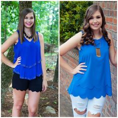 We love a bright pop of blue! You can dress the tops down or up!! #OOTD #WIW