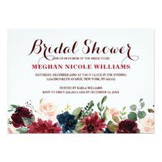 #bridal #shower #invitations - #Burgundy Red Navy Floral Rustic Boho Bridal Shower Card