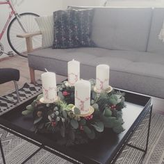 Christmas Advent Wreath, Christmas Time, Xmas, Hay Tray Table, House Doctor, Thanks Card, Beautiful Christmas, Room Interior, Pillar Candles