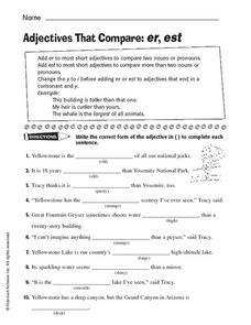 Adjectives That Compare: -er, -est Worksheet