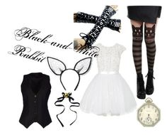 """Black-and-White Rabbit"" by alison-liddell-hetalia ❤ liked on Polyvore featuring Daniele Alessandrini, Maison Michel, Waltham, women's clothing, women, female, woman, misses and juniors"