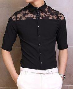 Stylish Shirt Collar Slimming Lace Splicing Three-Quarter Sleeve Men's Cotton Shirt - BLACK XL
