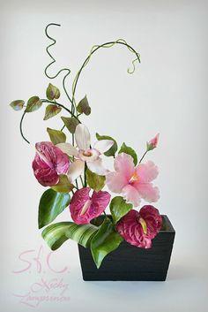Sugar Flowers Bouquet SUGAR FLOWERS BOUQUETANTHURIUM, HIBISCUS , ORCHID