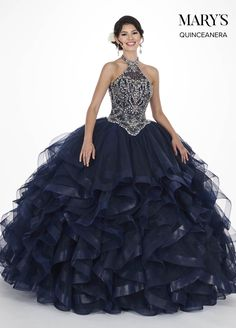 7f721544e2 Ruffled Illusion Halter Quinceanera Dress by Mary s Bridal Bridal-ABC  Fashion