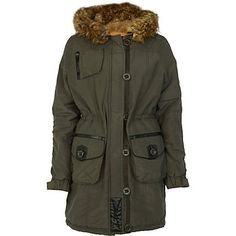 khaki long sleeve hooded parka - parkas - coats / jackets - women - River Island