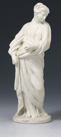 A Sèvres biscuit figure of a classical lady, circa 1770, on a circular base, 19cm (some losses)