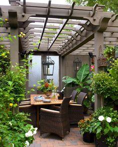 Brandon Barre Photography - decks/patios - gray, pergloa, gray, doors, teak, dining table, wicker, dining chairs, pergola, garden pergola, outdoor dining pergola,