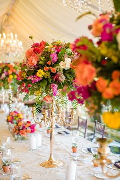 Colorful Floral Arrangement on Gold Stand Wedding Arrangements, Flower Arrangements, Floral Arrangement, Seaside Wedding, Summer Wedding, Green Wedding, Budget Wedding, Wedding Planning, Wedding Ideas