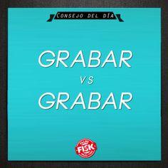"""#ConsejoDelDia Não confunda! """"Grabar"""" significa GRAVAR, seja em baixo relevo, seja um som. (Grabar las paredes de la ciudad es prohibido); """"Gravar"""" significa AGRAVAR, SOBRECARREGAR, OPRIMIR (La deuda externa grava indebidamente a todos los latinoamericanos) #DicaFisk"""