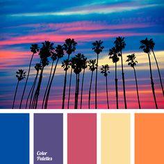 blue-violet, bright blue, color match, color solution for interior, crimson, deep blue, magenta, Orange Color Palettes, pale yellow, sea sunset, shades of sunset.