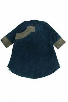 Asian vintage indigo cotton long shirt/Vietnam tribal White Thai/natural indigo dyed/hand stitched/repair/faded indigo/313
