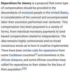 Reparations For Slavery, Proposal, Proposals