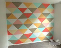 How to paint a geometric triangle wall. I'm going to do this on barn wood and hang in the dining room.