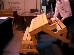 The folding table Garden Bench which converts to a Picnic Table and Benches - YouTube
