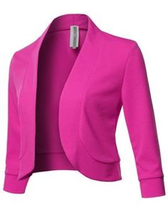 Solid Sleeves Open Front Bolero Blazer - Made in USA Fuchsia Blazer Outfits, Blazer Dress, Blazer Fashion, Jacket Dress, I Dress, Bolero Jacket, Suits For Women, Jackets For Women, Clothes For Women