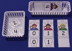 """Tooth Fairy Number Match - but instead use """"family"""" members and a letter magnet.ex: M for Mom picture. Kindergarten, Preschool Curriculum, Preschool Themes, Early Learning Activities, Health Activities, Teaching Resources, Childhood Education, Kids Education, Community Helpers Preschool"""