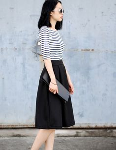 Fitted Solid Black High Waist Skirt