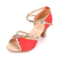 Women's Satin Ankle Strap Latin / Ballroom Dance Shoes – USD $ 22.99
