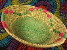 Your place to buy and sell all things handmade Basket Weaving, Hand Weaving, Traditional Bowls, Green Bowl, Valentines Day Gifts For Her, Thoughtful Gifts, Uganda, Pink And Green, Folk Art