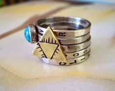 Mystic Triangle and Turquoise Ring // by TarnishedAndTrue on Etsy, $68.00