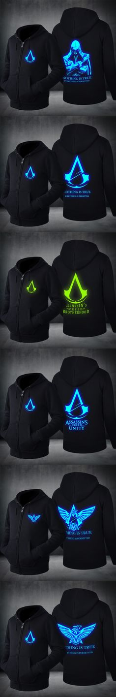 2017 Novelty Hoodies mens fashion sweatshirts assassins creed hoodie luminous pattern Luminous Hoodies Spring&Autumn US EU Size