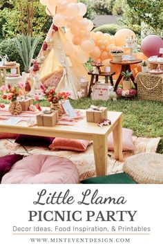 Throw an outdoor Little Llama Picnic Party for a birthday or shower! With comfy seating, gorgeous florals, beautiful decor, tons of desserts and more. Get details and more party inspiration now at minteventdesign.com! First Birthday Parties, First Birthdays, Diy Party, Party Favors, Party Themes, Party Ideas, Llama Birthday, Party Printables, Event Design