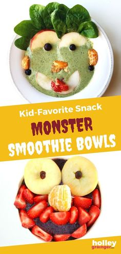 Make breakfast fun for your kids with theses easy Monster Smoothie Bowls. They are a fun way to incorporate more fruits and veggies into your child's diet. Even the pickiest eaters will love this healthy breakfast! | Holley Grainger - Cleverful Living